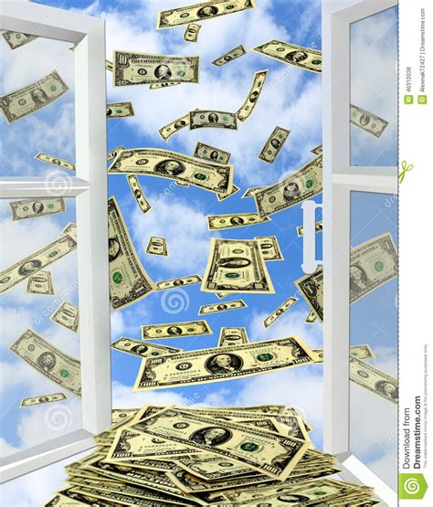 American House Design And Plans dollars flying out from opened window stock photo image