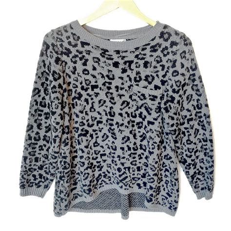 Snowy Sweater gray sparkle snow leopard print hi lo tacky sweater the sweater shop