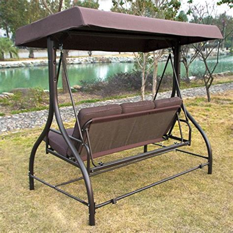 patio swing converts to bed outdoor 3 person canopy swing glider hammock patio