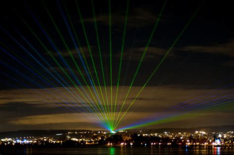 Laser Light Outdoor Laser Beams Lake Constance Germany December 2012