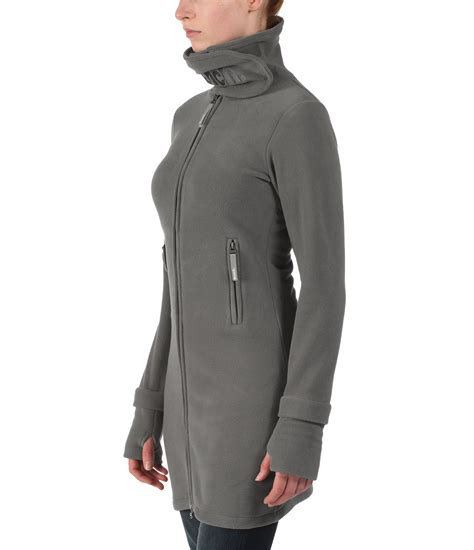 long bench jacket bench long neck zip up fleece jacket in gray lyst