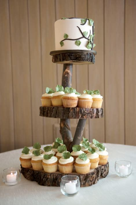 wood cake stand aspen colorado mountain wedding megan bobby rustic