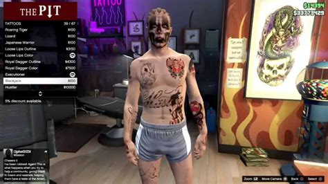 tattoo gta v online gta online theozer 180 s award tattoos youtube