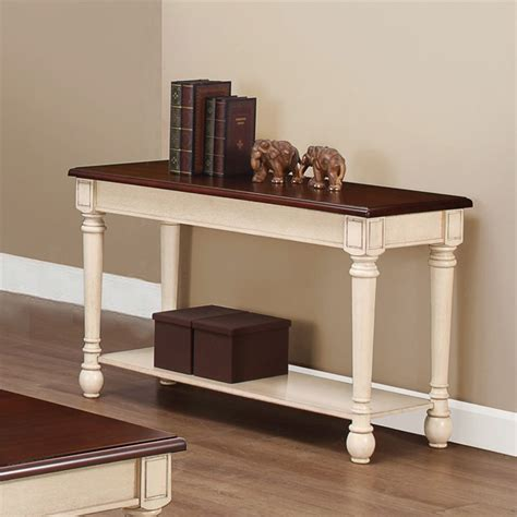 coaster two toned sofa table in brown and white 704419