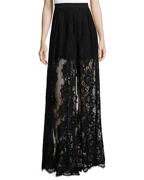 lucrenzia high waist lace maxi skirt in black lyst