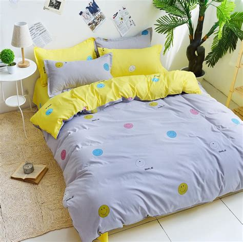 cute cheap bedding 2015 new gray and yellow smile bedding cute cotton