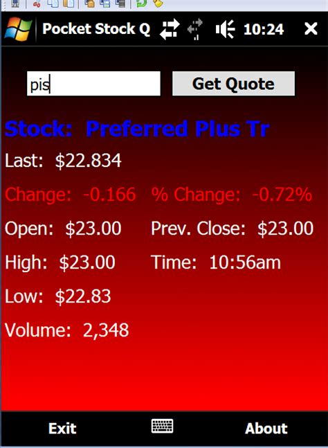 mobile stock quotes pocket stock quote windows mobile phone pocket pc freeware