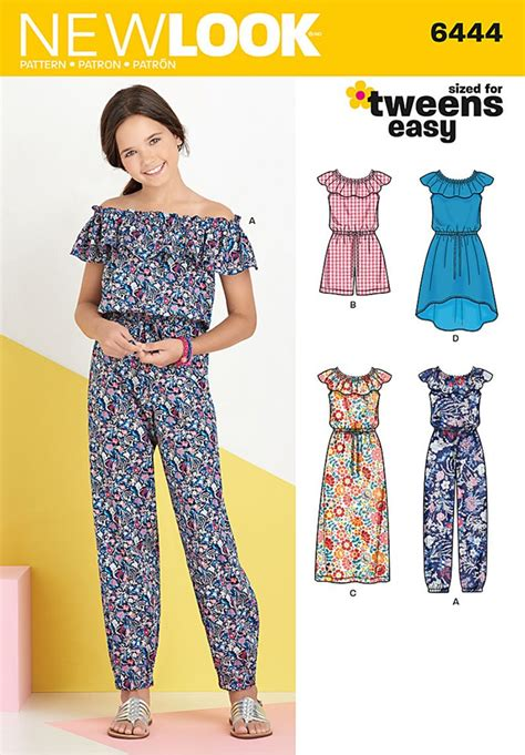pattern for jumpsuit girls dress and jumpsuit in two lengths new look sewing