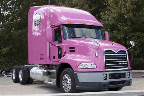 mack trucks showcases  support  breast cancer awareness  pink mack pinnacle model