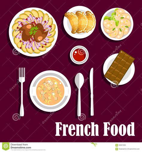 mets cuisin駸 frans keukenvoedsel met croissants en chocolade vector