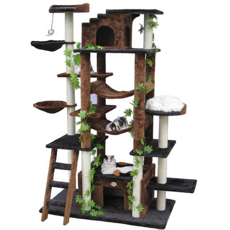 High End Cat Furniture by Go Pet Club 77 Inch High Brown Black Huge Cat Tree