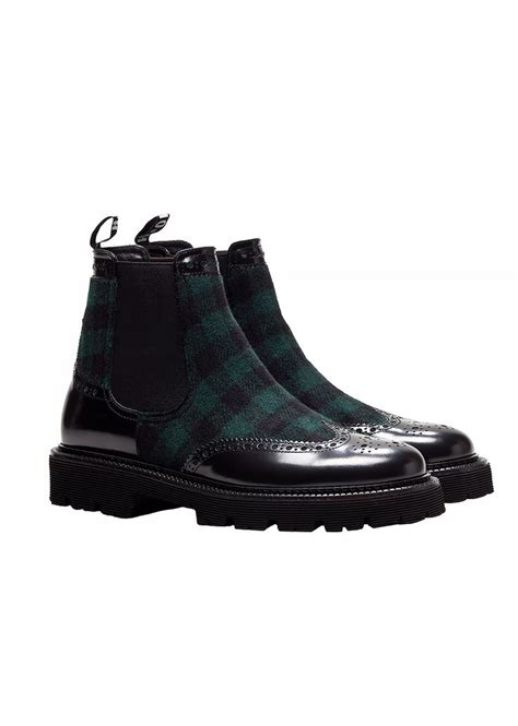 A De 57 Hitam Boots msgm vichy wool beatle ankle boots mens shoes