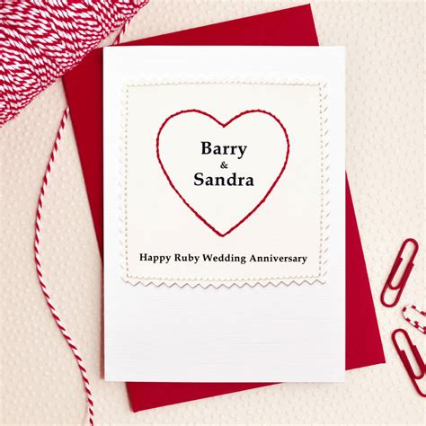 Ruby Anniversary Wedding by Personalised Ruby Anniversary Card By Arnott Cards