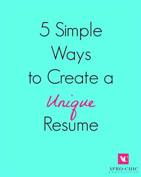 5 simple ways to create a unique resume huffpost