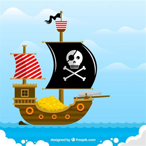barco pirata vector flat background of pirate ship full of gold coins vector