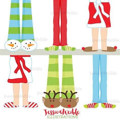 christmas pajama feet cute digital clipart christmas clip