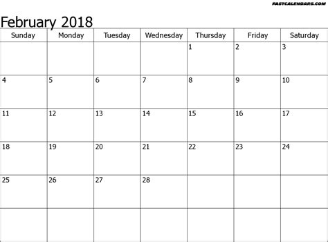 February 2018 Calendar Pdf With Templates In Excel Format Blank Calendar Template Pdf