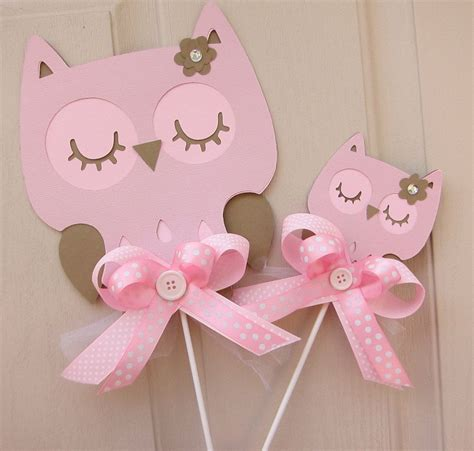 Etsy Owl Baby Shower Decorations by Baby Shower Or Birthday Pink And Brown Owl Cake Toppers