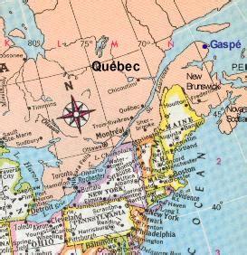 eastern north america, showing gaspé / amérique du nord