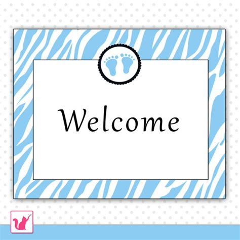 Welcome To Baby Shower Sign shower welcome sign blue zebra baby boy printable