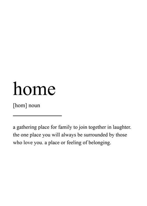 Home Definition Print, Wall Art Print, Quote Print