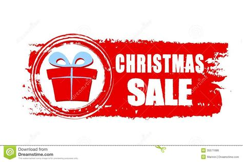 christmas sale and gift box on red drawn banner stock