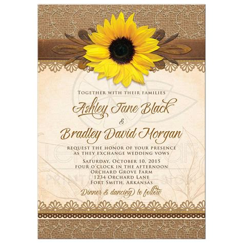 House And Barn by Wedding Invitation Rustic Sunflower Burlap Lace Wood