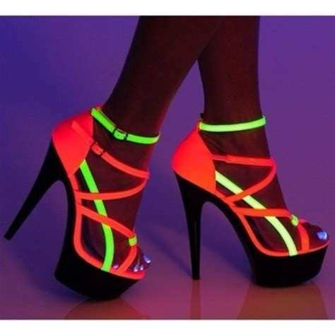 neon shoes shoes glow in the high heels strappy neon