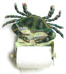 blue crab toilet paper holder nautical painted metal