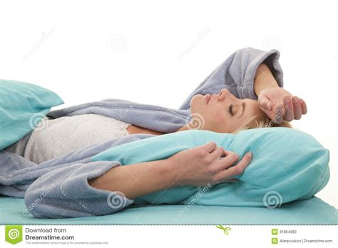 in robe lay in bed sleep stock photo image 31804360