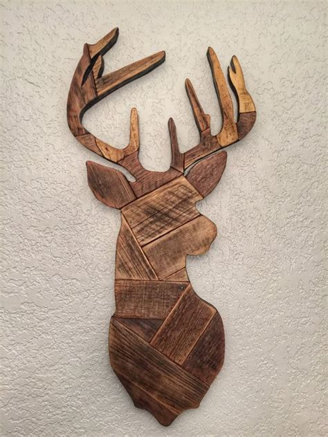 deer patterns and wood wall design on pinterest deer head made from reclaimed wooden pallets deer hunting