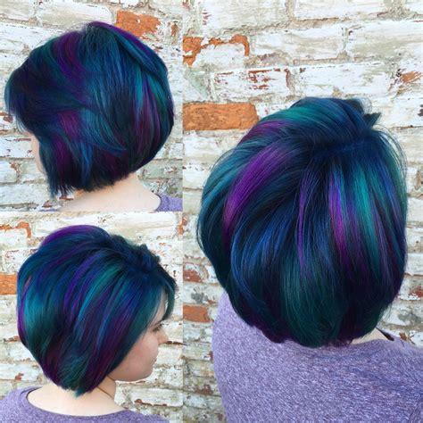 peacock hair blue purple    green fashion