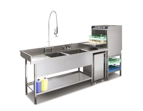 pot wash sink and commercial dishwasher combination