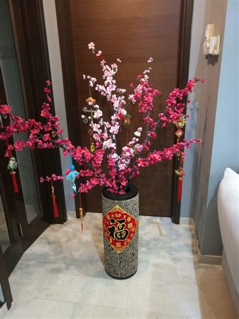 cny home decor cny cherry blossom flower vase wood chinese new year decor