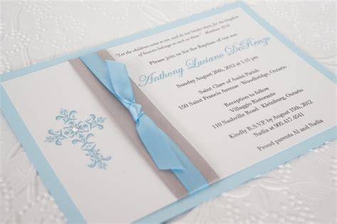 Handmade Christening Invitations - ingledew invites baby boy baptism invitation handmade