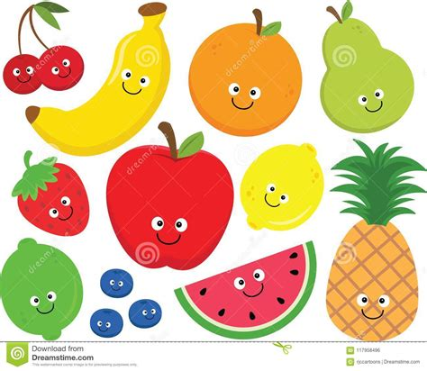 Frutta Clipart Ensemble Heureux De Clipart De Fruit Illustration De