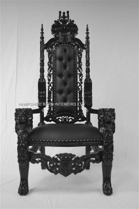 Dining Room Arm Chairs by Black Gothic Lion Throne Chair Black Faux Leather