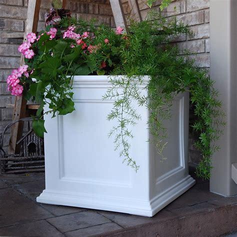 white   square patio planter box patio planters