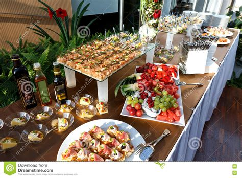 what is a buffet table buffet table of food in small dishes and a fruit