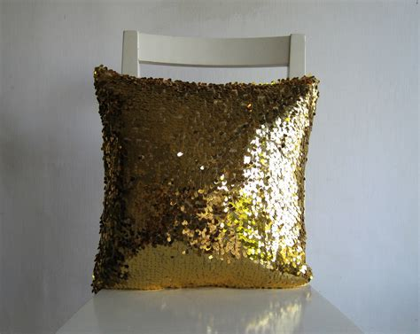 Gold Sparkle Pillow by Gold Sequins 16x16 Pillow Cover Glitter Sparkly
