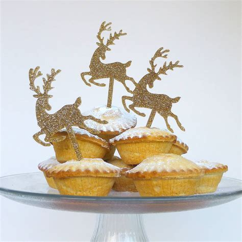 gold glitter christmas reindeer cake topper by miss cake