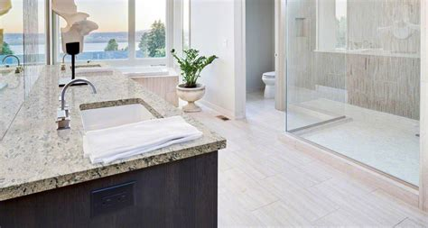 Ideas For Bathroom Countertops bathroom room scene pacific salt quartz countertop