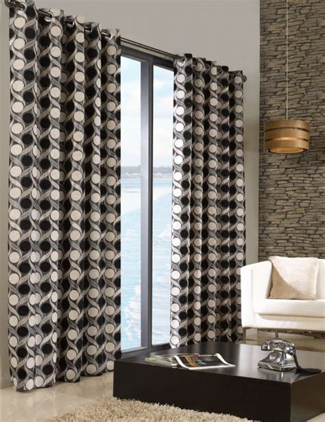 cream black curtains stylish trendy ringtop eyelet lined circle pattern