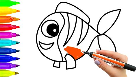 for toddlers coloring pages for how to draw fish for