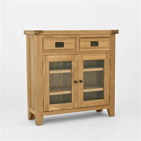 chiltern oak small sideboard bookcase with glass doors