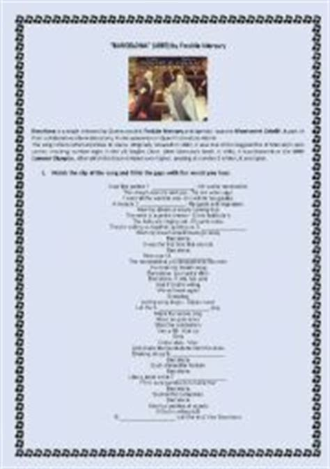 barcelona queen lyrics english teaching worksheets freddie mercury