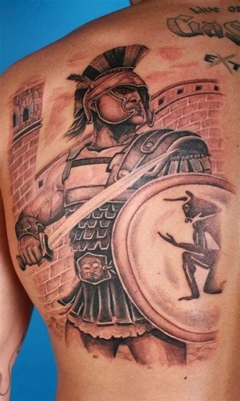 female warrior tattoo designs gladiator in armor with shield and sword