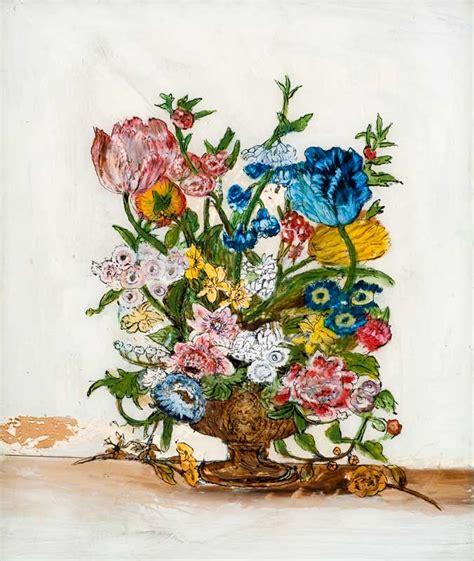 Decorative Flower Vase Foiled Tinsel Painting In America American Folk Art Museum