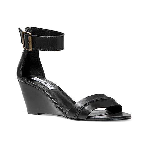 steve madden sandals black steve madden neliee wedge sandals in black lyst