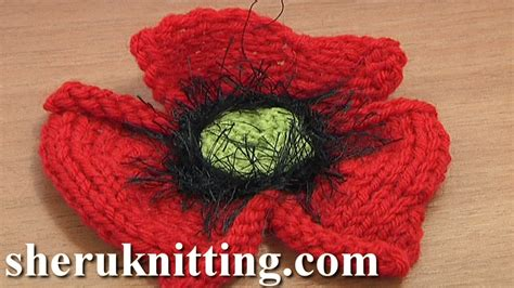 knitting pattern for a poppy flower how to knit a poppy flower tutorial 25 part 1 of 2